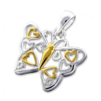 """Stříbrný přívěsek """"Motýlí srdce"""". Ag 925/1000"""